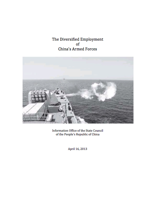 China White Paper - The Diversified Employment of China's Armed Forces