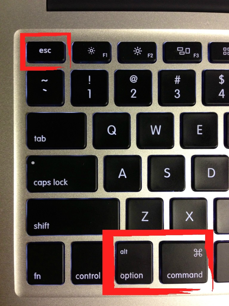 Use these keys to do a Force Quit - or Ctrl Alt Del for Mac.